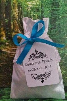 Inspiration and Ideas for Your Blue Wedding DIY Favor Kits - Satin Bags - Satin Ribbons - Personalized Tags