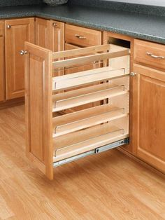 Rev-A-Shelf 448-BCBBSC-8C 448 Series 8 Inch Wide Base Cabinet Pull Out Organizer Natural Wood Base Cabinet Organizers Pull Out Organizers Shelves