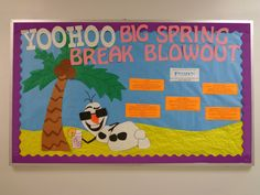 Resident Assistant bulletin board with Frozen theme featuring Olaf at the beach! Beach Spring Break appeal RA- don't let your motivation get frozen College Bulletin Boards, Summer Bulletin Boards, Disney Classroom, Toddler Classroom, Classroom Decor, Ra Themes, Ra Bulletins, Ra Boards, Resident Assistant