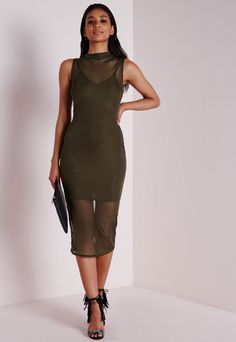 04dc663cbd Sleeveless Mesh Bodycon Dress Khaki - Dresses - Bodycon Dresses -  Missguided Dresses Uk