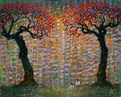 Together by Ton Dubbeldam Original Oil on Board 18 x 18