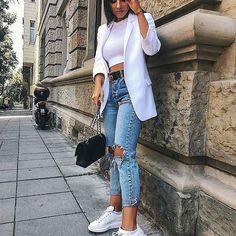 outfit with blazer Cute Casual Outfits, Chic Outfits, Spring Outfits, Fashion Outfits, Womens Fashion, Fashion 2018, Dress Outfits, Blazer Jeans, Look Blazer
