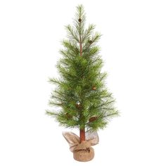 4'x25 Unlit Artificial Christmas Tree Porch Pot Pine Burlap Base, Green