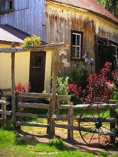 Old Barn, Gate, Wagon Wheel