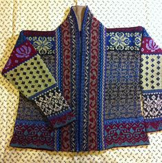 Kauni Stranded Sampler Jacket by Flory Loughead Gorgeous--and look at that lined collar!