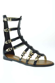 katia 48 Womens Buckled Gladiator Flat Sandals Black ** Check this awesome product by going to the link at the image.
