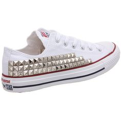 Studded Converse, Converse White Low Top with Silver Pyramid Studs by... ($105) ❤ liked on Polyvore featuring shoes, sneakers, converse, low profile shoes, silver trainers, white trainers, converse trainers and low profile sneakers