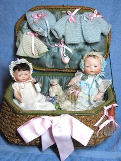"""8"""" and 9"""" all original Horsman Tynie Babies with trunk, clothing and toys"""