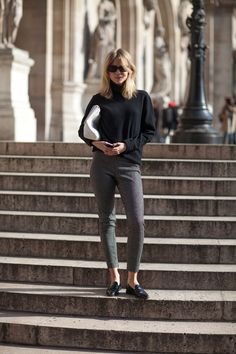 Elin Kling with Oversized Clutch, Slim Cropped Trousers and Penny Loafers - Paris Fashion Week Style Fall 2013