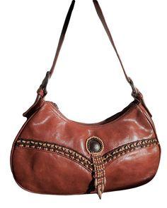 Vintage CRIPPLE CREEK SouthWest style Genuine caramel whiskey distressed  Leather beaded tribal native embellished Metal Zipper shoulder bag 112526b8843a8