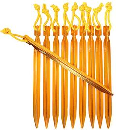 Raqpak Tent Stakes Aluminum Pegs 10 Pack with Pouch Yellow 75 Inches -- Want to know more, click on the image.