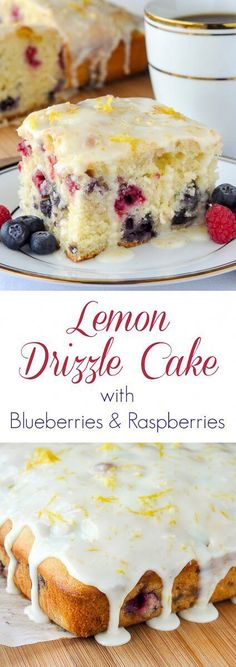 Lemon Drizzle Cake with Blueberries and Raspberries. A quick to make, simple recipe that harmoniously blends the complimentary flavours of lemon, blueberry and raspberry. #EASYDESSERT