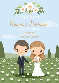 Wedding Invitation Card Template, Invitation Card Design, Digital Invitations, Wedding Invitations, Bride And Groom Cartoon, Wedding Couple Cartoon, Watercolor Artwork, Watercolour, Couple Clipart