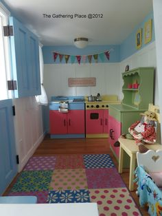 Playhouse Decor Idea - I love the colors for our play kitchen/role play area. The floor is so fun. Playhouse Decor, Playhouse Interior, Indoor Playhouse, Build A Playhouse, Wooden Playhouse, Playhouse Ideas, Inside Playhouse, Cubby Houses, Play Houses