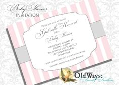 Classic Stripes Pink and Grey Baby Girl Shower Invitation - Printable Custom Invite DIY 5x7 or 4x6 Digital JPEG PDF Files. $15.00, via Etsy.