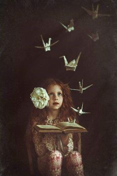 Origami animals fly in this fine art photo Surrealism Photography, Fantasy Photography, Conceptual Photography, Creative Photography, Children Photography, Fine Art Photography, Portrait Photography, Whimsical Photography, Jolie Photo