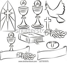 holy communion - vector symbols