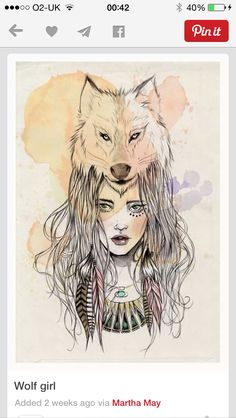 This is awesome! Wolf and woman tattoo design