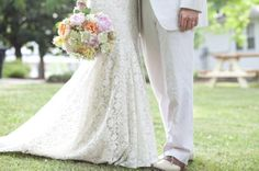white lace and pin stripes are a perfect summer wedding match | eyeris photography | via: @WeddingWire