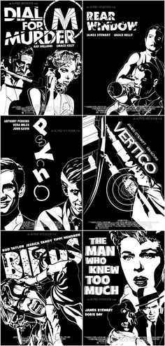 Movie Friday: Reimagining Classic Alfred Hitchcock Movie Posters #design #graphicdesign #branding