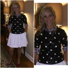 Plaid is a terrific Fall Trend Plaid shirt and Sequin top @JCrew Skirt @bananarepublic Shoes @ninewestfashion