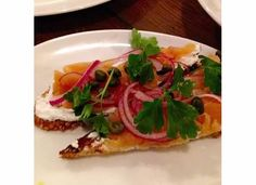 Smoked trout, farmers cheese, and red onion crostini. A fresh and ...