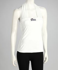 Take a look at this White New England Patriots First Down Halter Top - Women by All Sport Couture on #zulily today!