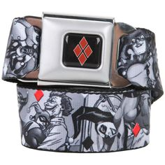 Hot Topic DC Comics Harley Quinn & The Joker Seat Belt Belt ($20) ❤ liked on Polyvore featuring accessories, belts and buckle belt