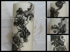 Henna Candle. Decorated fragnance free church candles. Available with hand drawn exotic henna, mehndi,Henna tatoo, islamic or arabic art and/or tribal patterns. Unique gifts for loved ones or decor for the home. Available in large, medium or small sizes.Available at www.myourcrafts.co.uk