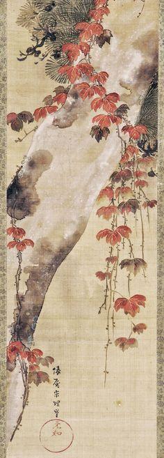 Pine tree and autumn vine. Japanese Hanging scroll (mounted on panel. Tawaraya Sori I. Edo period, late 18th century. Freer.