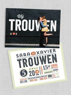 Huwelijksuitnodiging / wedding invitation Sara & Xavier