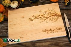 Personalized/ Engraved Cutting Board With Birds & Tree/ Tree Design…