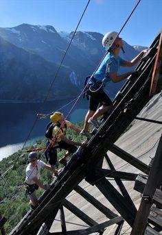 Via ferrata climbing route in Tyssedal, Hardangerfjord Norway, by OpplevOdda.com