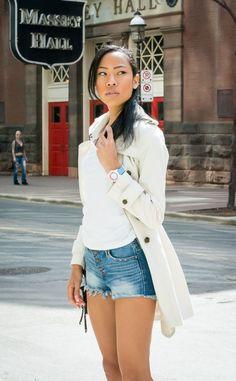 Victoria Kristine, BlasianGurl, Fashion Blogger, Toronto Blogger, Style, Summer Essentials, Denim Shorts, Short Shorts, Cream Trench
