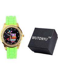 WUTONYU(TM) Women's Colorful Retro Owl Diamond Numbers Silicone Band Quartz Wrist Watch (Green) by WUTONYU $9.99Prime