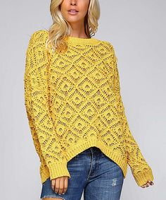 Loving this Mustard Diamond Knit Hi-Low Sweater on #zulily! #zulilyfinds