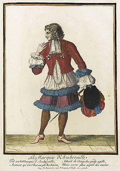 Nicolas Bonnart (1637 - 1717)   Recueil des modes de la cour de France, 'Le Marquis d'Ambreuille', circa 1678-1693