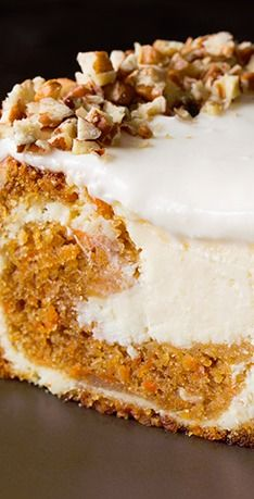 Carrot Cake Cheesecake -my two favorite things, maybe make it for my birthday