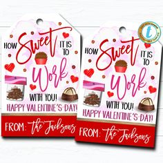 Valentines Teacher Gift Tags, How Sweet it is To Be Taught By You, Valentine Candy Chocolate Cookie Treat Gift Label, DIY Editable Template day treats classroom day treats easy day treats ideas day treats kids day treats school Teacher Gift Tags, Teacher Valentine, Valentines Diy, Happy Valentines Day, Employee Gifts, Gift Labels, Candy Gifts, Gifts For Coworkers, Cookies Et Biscuits