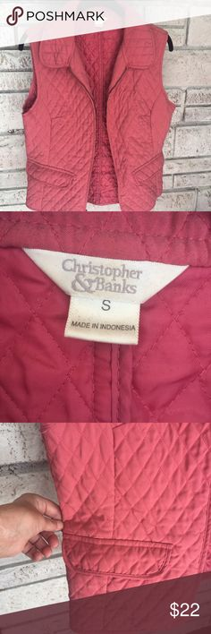 Rose Pink Quilted Vest Great Condition!  No flaws detected:) it's a lightweight vest and soft to the hand.  Size small.  Offers are always welcome!!  Always here for questions!!   Will updates with more information at a later date. Christopher & Banks Jackets & Coats Vests