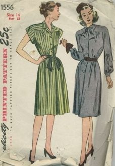 An original ca. 1945 Simplicity Pattern 1556.  Misses' and Women's One-Piece Dress. The bodice, styled with a slightly lowered armhole is gathered at the upper and lower edges and the yoke and sleeves are cut in one piece. A front-button closing releases a pleat in the skirt front. The skirt has soft front fulness and the back is seamed at either side of the center. Style I has a notched collar and cap sleeves. Style II has bishop sleeves and a soft bow may be tacked to the high round…