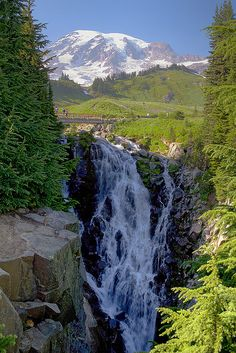 Myrtle Falls, Mount Rainier National Park, Washington. I need to go see this.