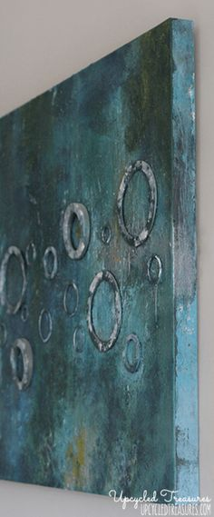 DIY Abstract Canvas Art! Check out how to create DIY abstract art using canvas, acrylic paints, fabric, sand & washers. UpcycledTreasures.com