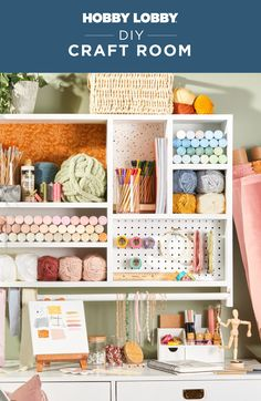Keep your craft room organized and inspirational with an assortment of home decor pieces combined with craft supplies. Arts And Crafts Storage, Craft Storage, Wall Organization, Fall Diy, Getting Organized, Office Decor, Craft Supplies, Diy Crafts, House Styles