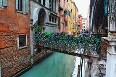 Little Bridge with Flowers, San Marco,Venice - George Oze