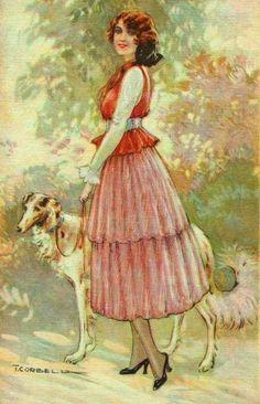 Corbella, Tito (b,1885)- Borzoi w Woman, II