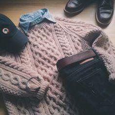 Sweater: Inverallan 1A + Shirt: Polo Ralph Lauren + Cap: Duck Head + Rogue Territory SK + Belt: Vermilyea Pelle + Cuff: Kiel James Patrick + Boots: Alden 403