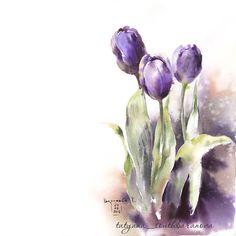 """Тюльпаны для #арт_бросок с Ирой Сарт @irina_sart пробую магию влажной техники Соблюдаю """"цветовую диету"""" dioxazine violet, indian red,…"""