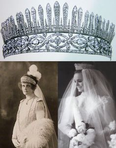The Howe Diamond Fringe Tiara. This tiara was created of two elements probably in 1883, on the occasion of the marriage of the 4th Earl Howe, according to D. Scarisbrick's lovely book (p. 106), t. diamonds, gold, silver, Left: Mary Howe (née Curzon), Countess Howe, Right: Sarah Curzon, daughter of 5th Earl Howe.