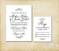 Wedding Invitation Suite Black White Formal by AshleyMartinDesigns, $10.00